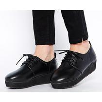 Zapatos Brogues Creepers Asos Eco Cuero Negros 38 Nuevos.