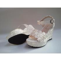 Novia, Chala ,zapato, Taco Plataforma 10 Cm Numero 38 Blanco