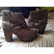 Zapatos De Cuero Y Suela De Madera Talla 40
