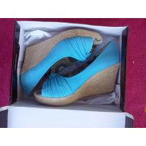 Zapato Taco Chino Color Celeste N° 38