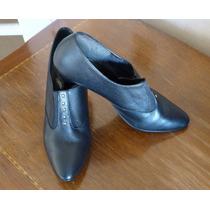 Zapatos Negro N°39 Estilo Masculino 100% Cuero Taco 7cm