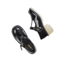 Zapatos Kickers Francia Mary Janes Charol Negro Nuevos 38