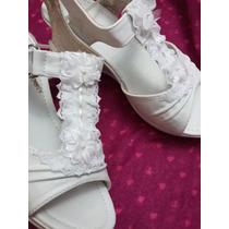 Novia, Chala ,zapato, Taco Plataforma 6 Cm Numero 37 Blanco