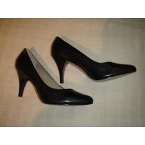 Zapatos Gacel De Cuero Color Negro N º 37 ,reina.
