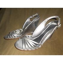 Sandalias Cristal/plata Vía Uno Nº 39 Nuevas