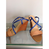 ::::. Zapatos Tabaco Con Azul, Via Uno, Nro 40. ::::::