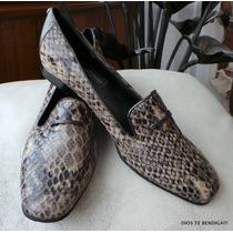 Brighton Zapatos Mocacines Cuero Animal Print 71/2 Made In I