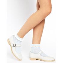 Zapatos Mujer Mary-janes Asos Cuero Negro Pulsera Blanco