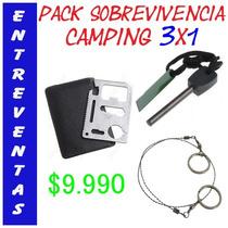 Pack Sobrevivencia, Pedernal, Sierra, Tarjeta Metal $9.990