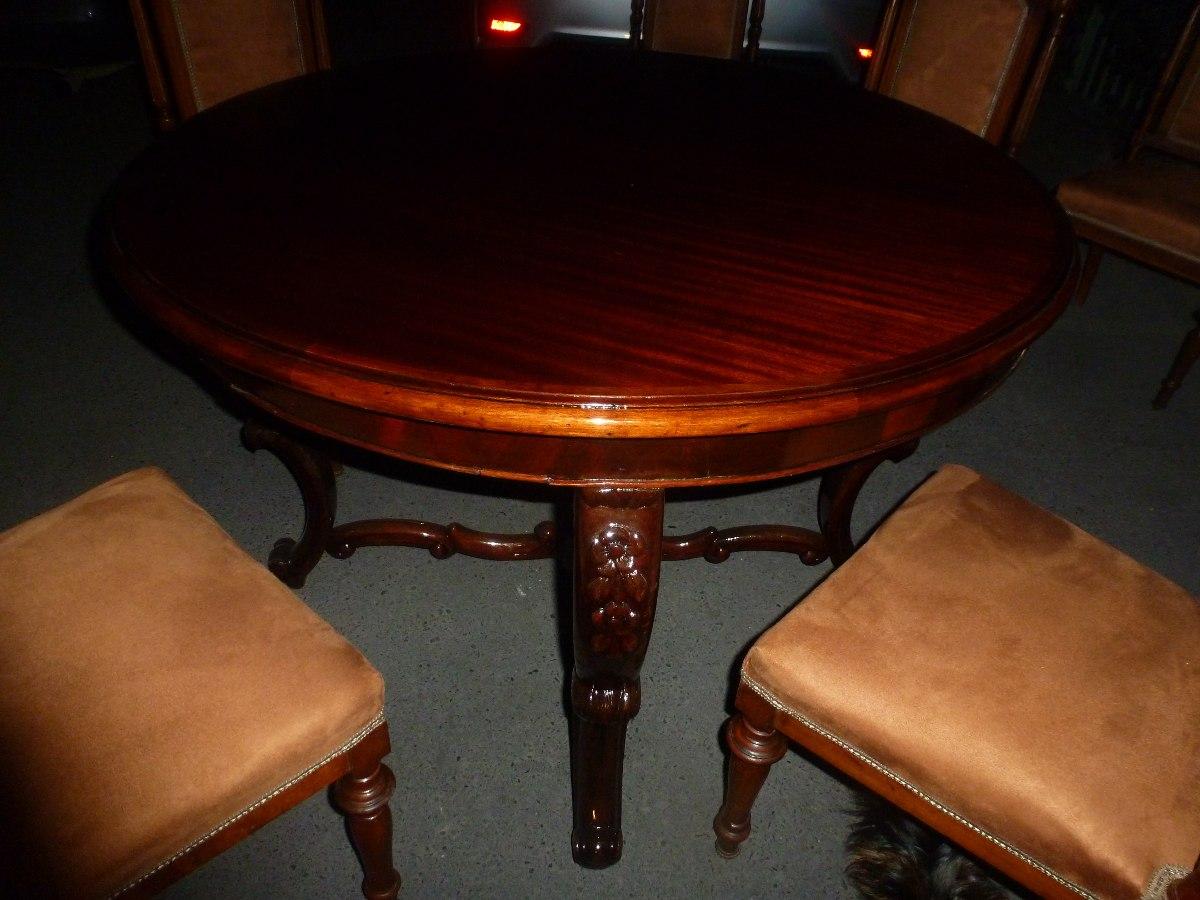 Comedor luis xv de caoba 06 sillas de sal n mesa redonda for Comedor luis quince