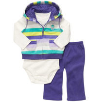 Set 3 Piezas Y Pijamas Carter´s En Polar Algodon Cartersitos
