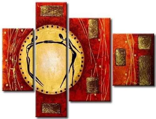 Cuadros abstractos modernos polipticos rojo amarillo car for Cuadros decorativos modernos
