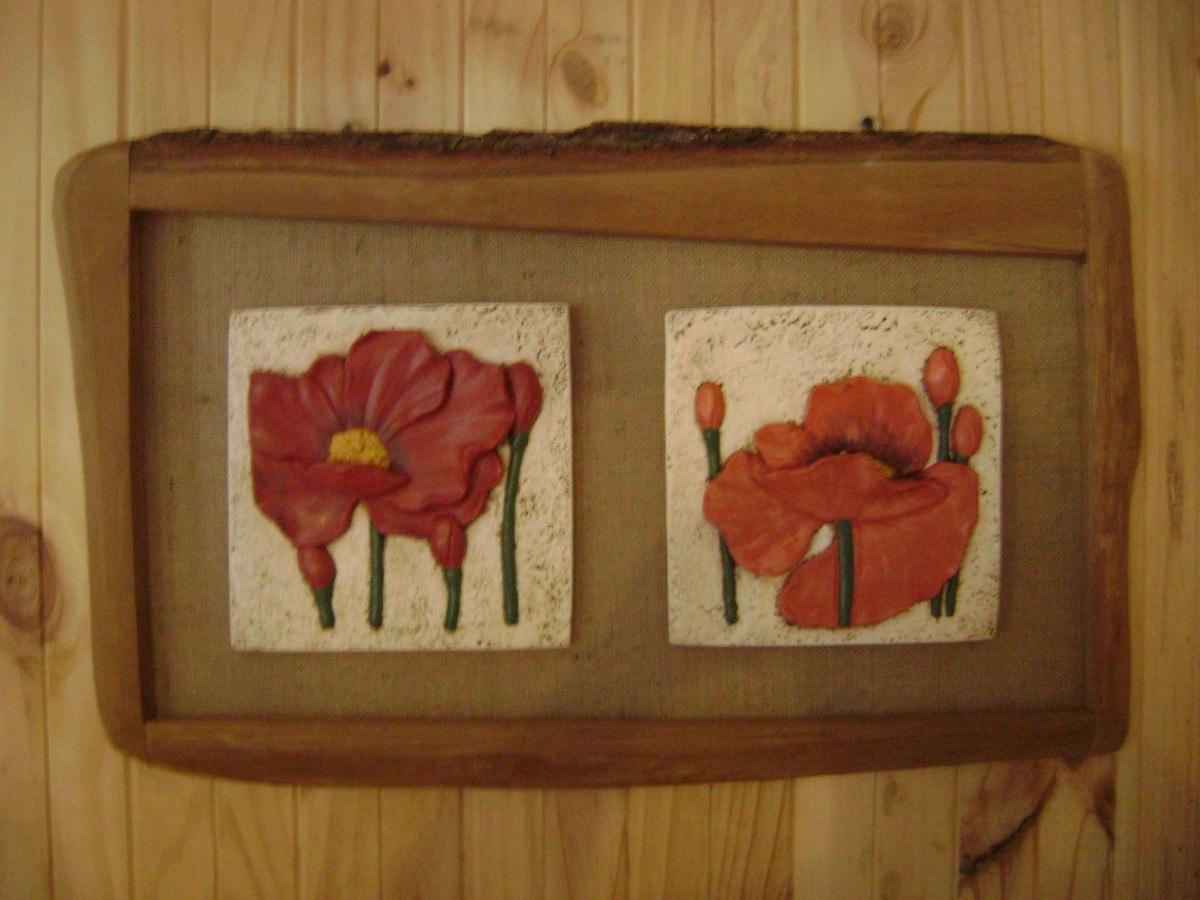 Cuadros r sticos pintados a mano marco de madera r stica - Cuadros para dormitorios rusticos ...