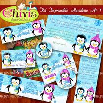 Kit Imprimible Navidad No 1 Tarjetas Invitaciones Candy Bar
