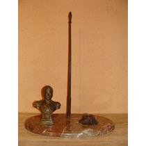 Antiguo Tintero Grande-busto Ohiggins-mastil - Bronce-marmol