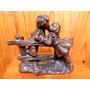 Antigua Y Hermosa Figura Escultura De Niños