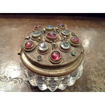 Espectacular Caja Pastillera O Para Tintero Cristal Piedras