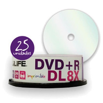 Dvd+r Dl Doble Capa Digilife 25 Dvd Imprimibles 8.5 Gb