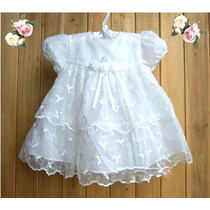 Vestido Blanco Gasa Encaje Y Bordados (bautizo)