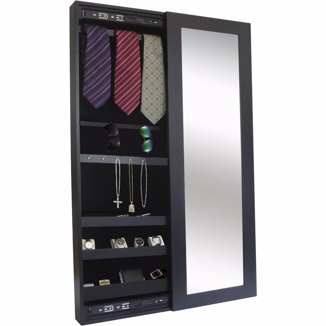 Espejo joyero deslizable negro en mercado libre for Espejos de pared madera