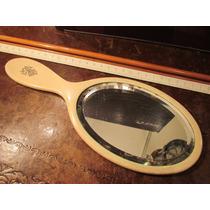 Antiguo Espejo De Marfil De Una Sola Gran Pieza 25 X 10 Cms