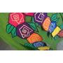 Falda Estilo Mexicana C Flores ,verde Pistacho