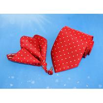 Set Corbata + Colleras + Pañuelo T26 Rojo Puntos Blancos