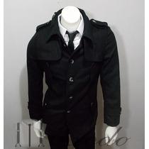 Abrigo Color Negro,retro, Nuevo, Talla Xs, Importado