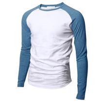 Polera Camiseta Blanca Manga Larga Celeste