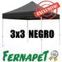 Toldo Plegable Negro 3x3 Fácil De Armar, Gazebo, Carpa
