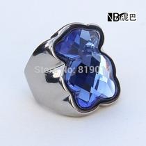 Anillo De Acero Tipo Tous, Con Piedra Azul Nros. 6 Y 8
