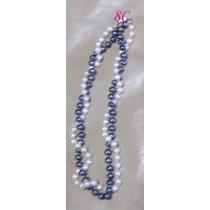 N8c Collar De Perlas Blancas Y Negra 6 M M Y En Plata Fina