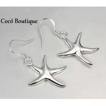 Set Aros Estrella De Mar Bañados En Plata