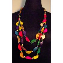 Collar Mujer De Colores Largo De Moda, Precioso Artesanal