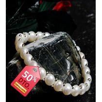 Pulsera Perlas Blancas Autenticas Tipo Lenteja Elasticada