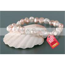 Pulsera Perlas Rosadas Autenticas Irregulares