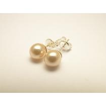 Aros De Plata 925 Con Perlas (no Bañados) Pke83
