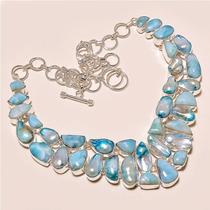 Espectacular Collar Larimar & Perlas Naturales