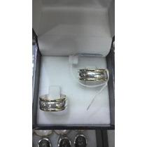 Par Argolla Matrimonio Ancha Mod.2 Plata C/oro 18 Ktes Au002