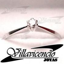 Anillo De Oro Blanco 18k 2.5 Gr Con Cristales Swarovski