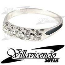 Anillo De Oro Blanco 18k 3.5gr Con Cristales Swarovski