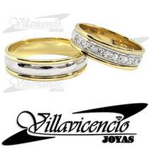 Argollas Platino Y Oro 18k 11 Gr Fr. 9 Diamantes