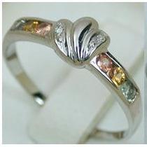 0.46 Cts 14k White Gold Rainbow Sapphire Diamond Ring 20%off