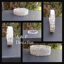 Oferta Pulsera Plateada 2 Líneas, Fantasía Fina - Cristales.