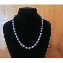 Elegante Collar Y Pulsera De Perlas Negras De Agua Salada