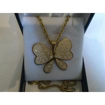 Collar De Acero Dorado Turbillón Con Mariposa Con Circón.