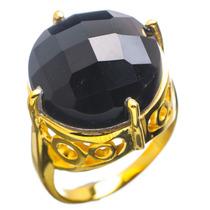 Anillo Plata 925 Bañado En Oro De 24k Con Onix Negro