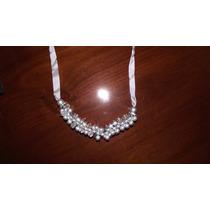 Collar Perlas Plateadas Con Brillantes En Oferta