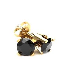 Aros De Oro Con Diamante Negro