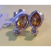 Aros De Plata Rodinada Con Topacio Y Diamantes